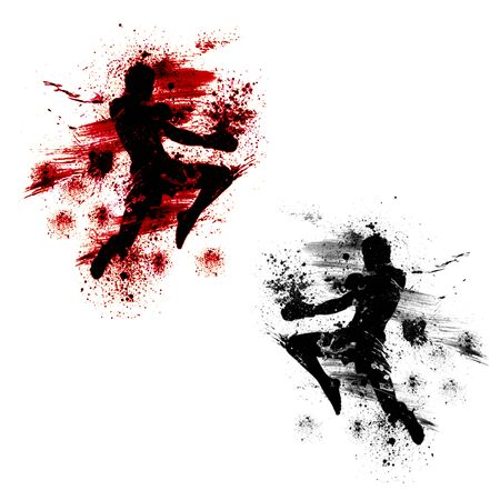 Flying knee of muay thai with blood spatter Stock Photo