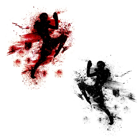 thai kick boxing: Flying knee of muay thai with blood spatter Stock Photo