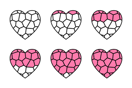 glass heart: stained glass heart vector animation