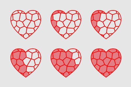 stained glass heart vector animation Vector Illustration
