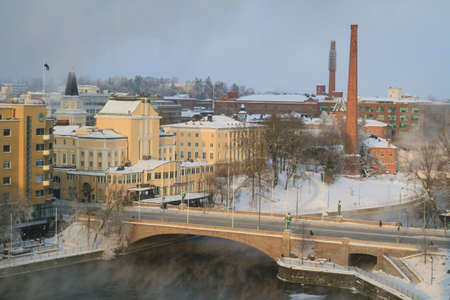Tampere city center at cold winter morning.