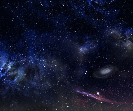 looming: Space background with nebula and galaxy.