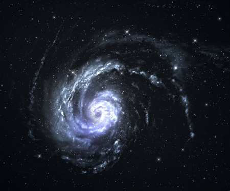 blue spiral: Beautiful spiral galaxy in deep space with starfield background.  Stock Photo