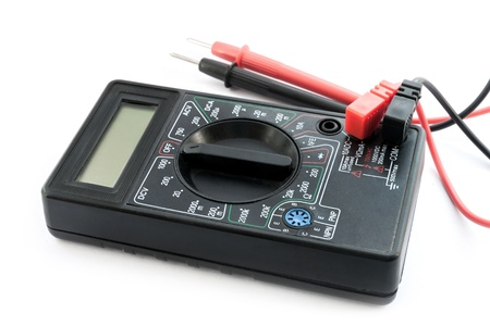 Multimeter, tester on the white background.