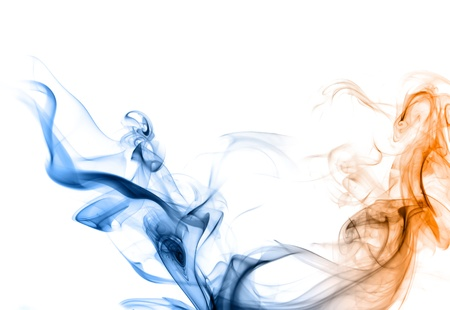 Blue and orange smoke on a white background like a two dragons or snakes   photo
