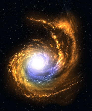 Spiral galaxy in deep space with starfield background. photo