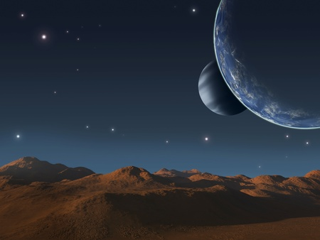 Alien world with two moons. Stock Photo