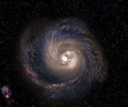 Beautiful spiral galaxy in deep space with starfield background.