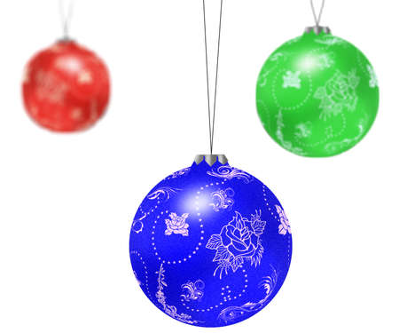 Three christmas tree balls isolated on white background.  photo