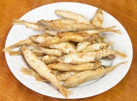 Fried smelt fish. Stock Photo