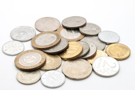 Coins from different countries.  photo