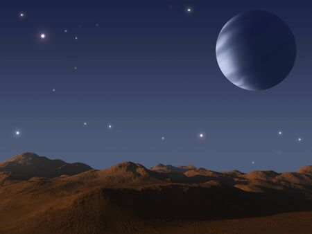 Alien world with one moon.  photo