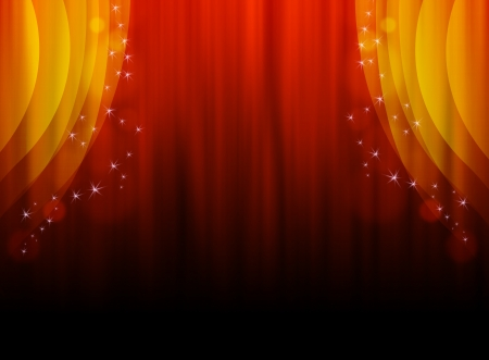 Illustration of a red-orange curtain with stars as a background   illustration