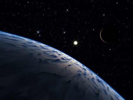 Alien mountainous world with one moon Stock Photo - 18705111