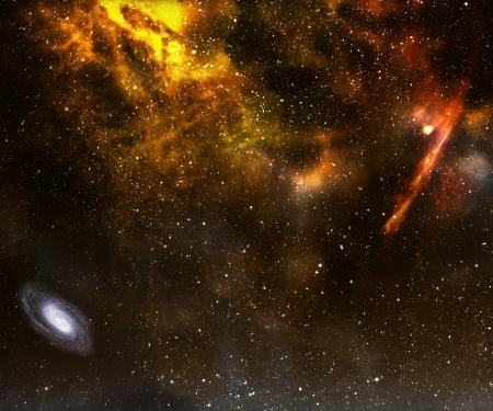 Star field with nebula and galaxy