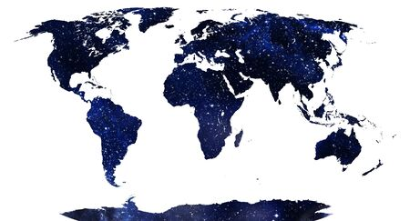 World map, continents in stars background  photo