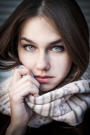 Portrait of a young woman with beautiful blue eyes. Soft focus. photo
