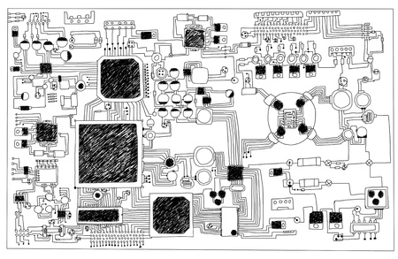 Circuit board, hand-drawn  photo