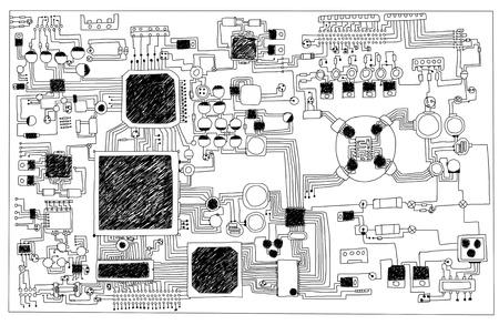 Circuit board, hand-drawn  photo