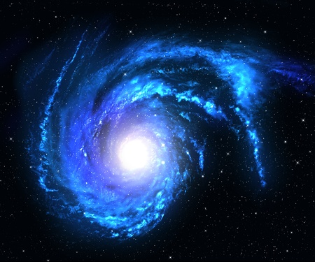 Blue spiral galaxy in deep space with star field background.