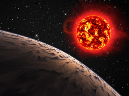 Planet with a red giant sun. photo