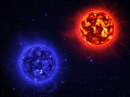 Two giant sun in space. photo