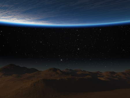 View of the planet from the moon surface.