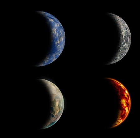 terminator: Isolated set of four different planets on black background.