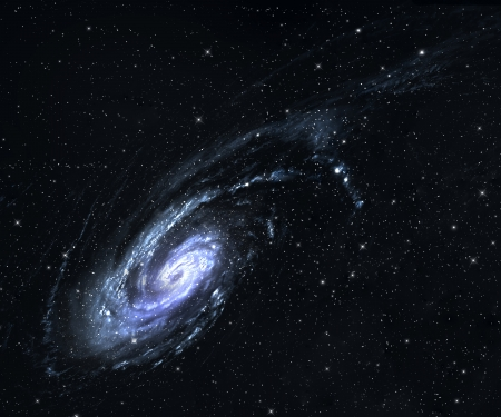 Spiral galaxy in deep space with star field background.  Stock Photo