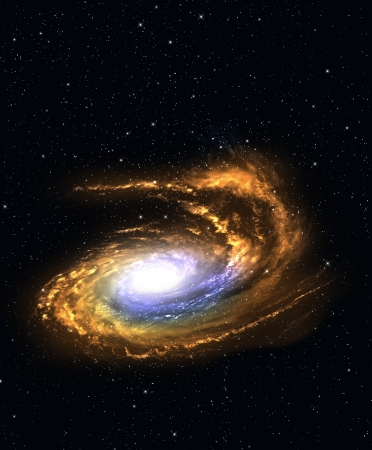 accretion: Spiral galaxy in deep space with star field background.  Stock Photo