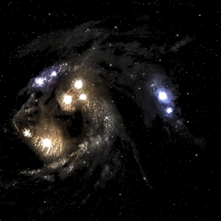 looming: Space nebula with few bright star.