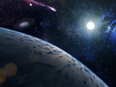 Blue planet with bright star on nebula background Stock Photo - 19503176