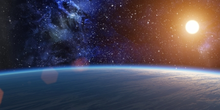 Blue planet with bright star on nebula background Stock Photo