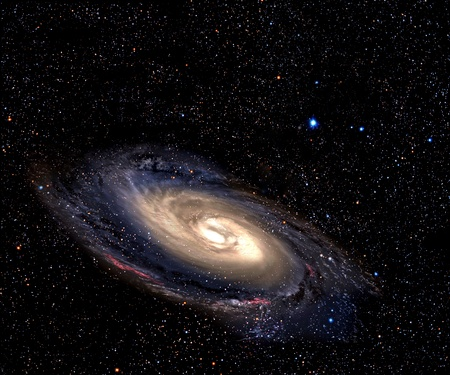 Spiral galaxy in deep space with star field background. 版權商用圖片