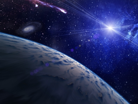 Planet with bright star on nebula background. With lens flare. Stock Photo - 19589630