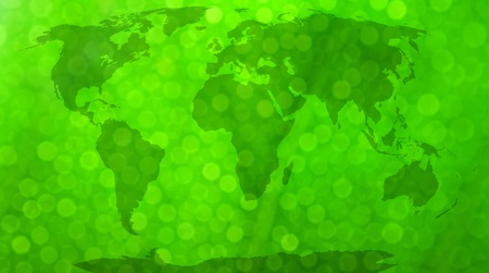 bionics: World map, continents in green bokeh background   Stock Photo
