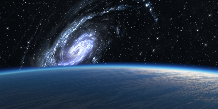 Blue planet with big galaxy on background.