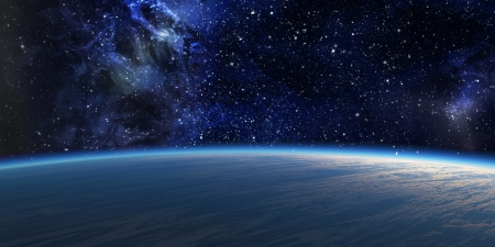 outer space: Blue planet with nebula on background  Stock Photo