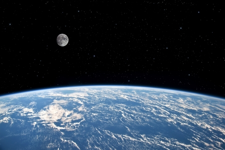 orbit:  The Moon over planet Earth  Elements of this image furnished  Stock Photo