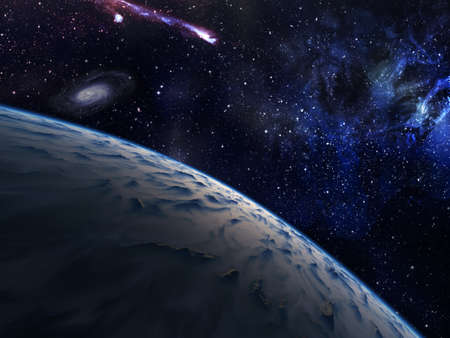 Planet with nebula and stars on background. Stock Photo - 19903501