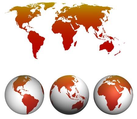 pacífico: Mapa do mundo com globos terrestres isoladas no branco Imagens
