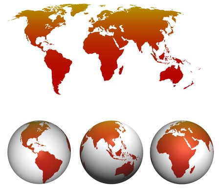 physical geography: World map with earth globes isolated on white
