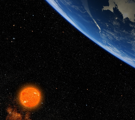 Planet with giant red star. Stock Photo - 20071201