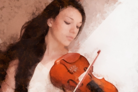 Portrait of a pretty young female playing the violin, drawn\ oil paints.