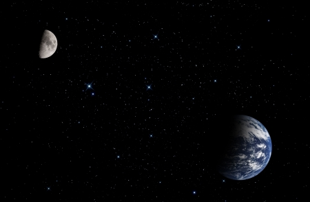 The Moon and planet Earth. Elements of this image furnished by NASA. Stock Photo - 20296412