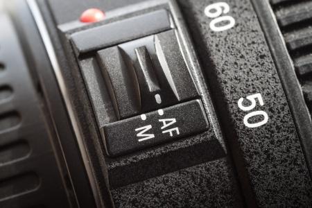 Lens autofocus button, close-up.