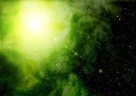 looming: Space background with bright star.
