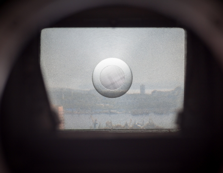 View through the viewfinder old SLR camera