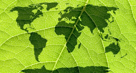 World map, continents in green leaf background