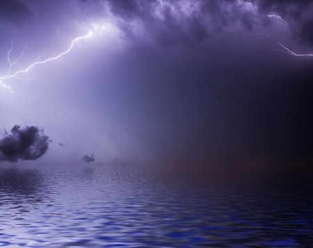 lightning storm:  Lightning bolt over water surface